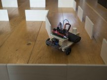 Student robot navigating the obstacle course
